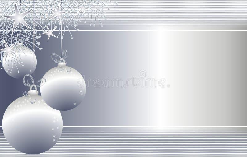 Het hangen siert Zilveren Kerstmis Achtergrond royalty-vrije illustratie