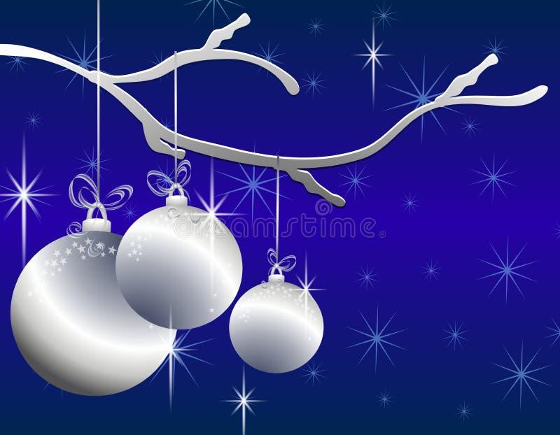 Het hangen siert Zilveren Kerstmis Kaart vector illustratie