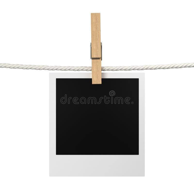 Het hangen van de foto op een kabel vector illustratie
