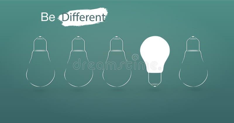 Het hangen van gloeilampen met het gloeien ??n verschillend idee op lichtblauwe achtergrond minimaal conceptenidee vector illustratie