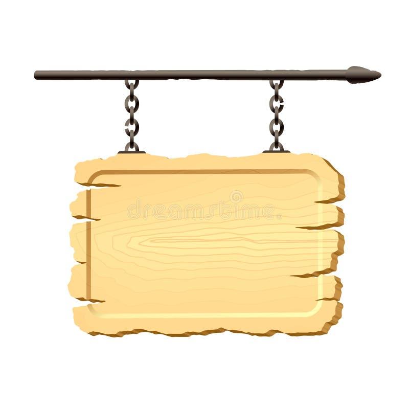 Het hangen van het uithangbord op kettingen royalty-vrije illustratie