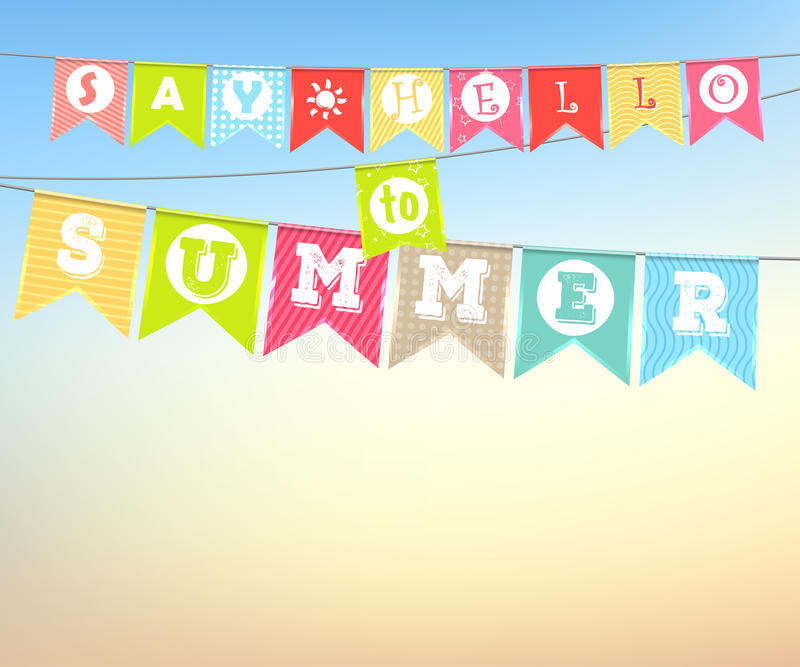 Het hangen van kleurrijke vlaggen met de inschrijving: Zeg Hello aan de zomer vector illustratie