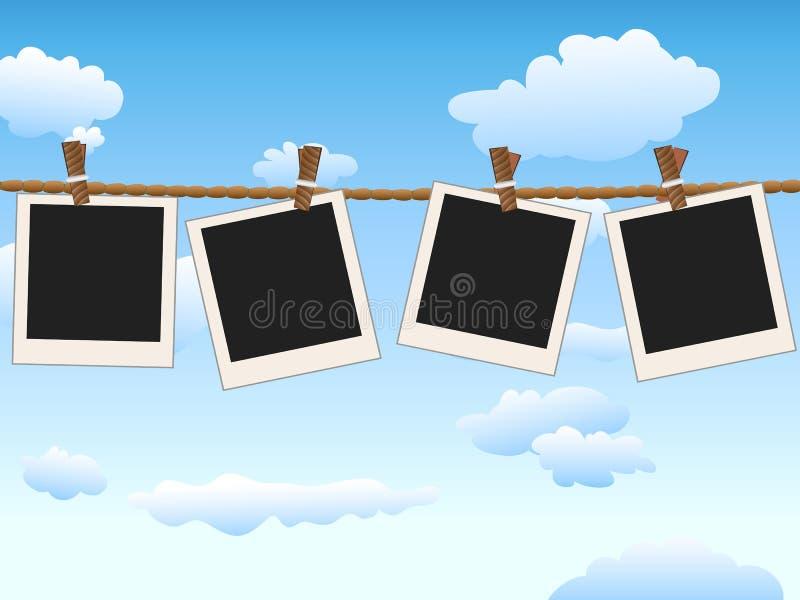 Het hangen van Lege fotokaders op blauwe hemel royalty-vrije illustratie