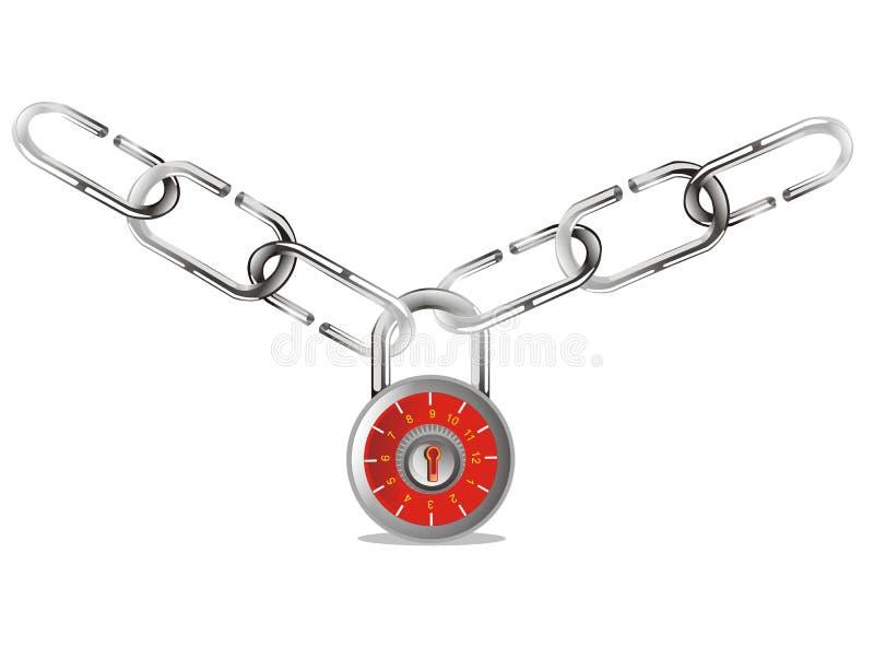 Het hangslot van de veiligheid met ketting stock illustratie
