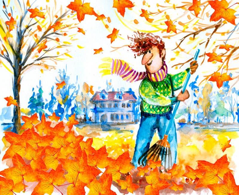 Het harken van bladeren vector illustratie
