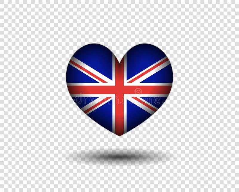Het hart is abstract met een schaduw, de vlag van Groot-Brittannië Pictogram, de vlag van embleemengeland Het concept patriottism stock illustratie