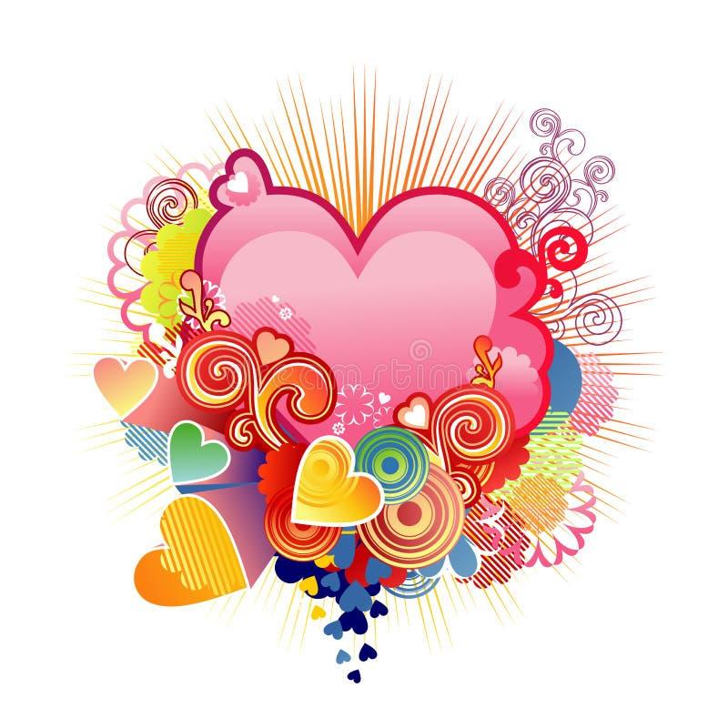 Het hart/de valentijnskaart of het huwelijk/de vector van de liefde stock illustratie