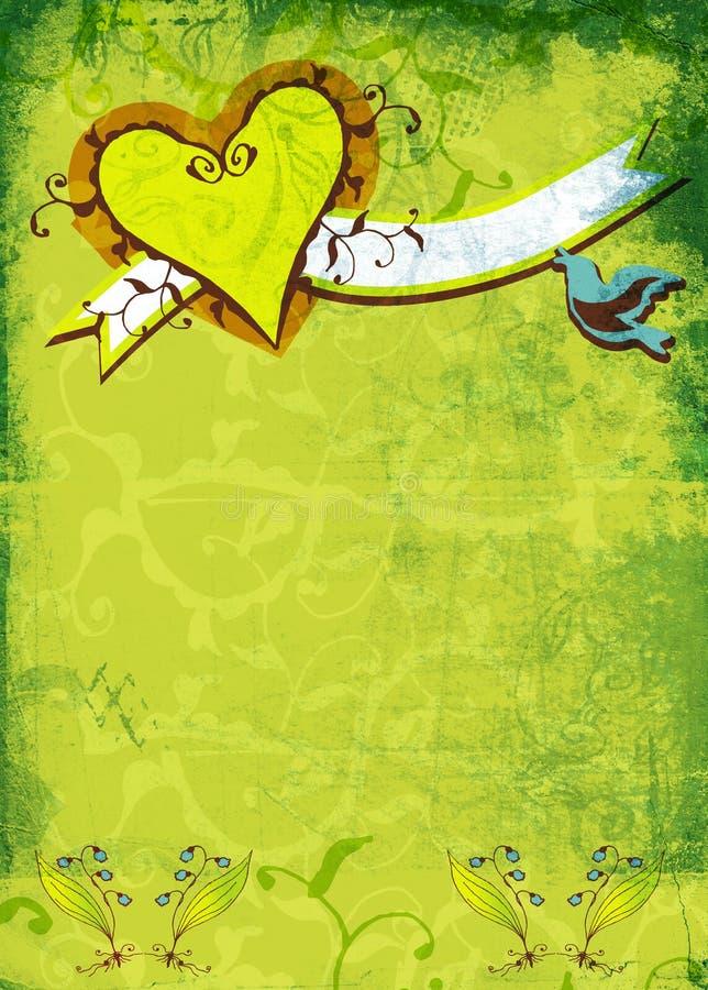 Het hart en de bloemen van Grunge stock illustratie