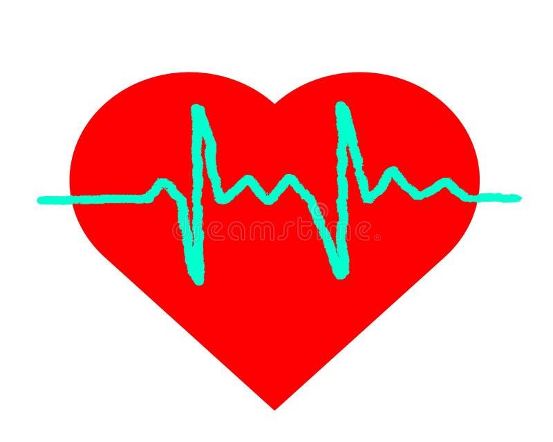 Het hart en het diagram van het tekeningsembleem royalty-vrije illustratie