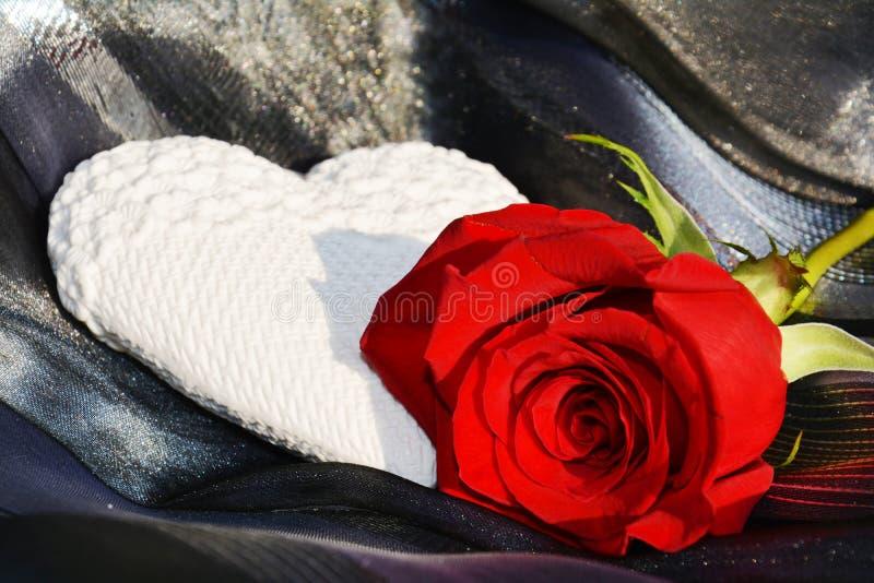 Het hart en nam toe romanticism royalty-vrije stock afbeelding