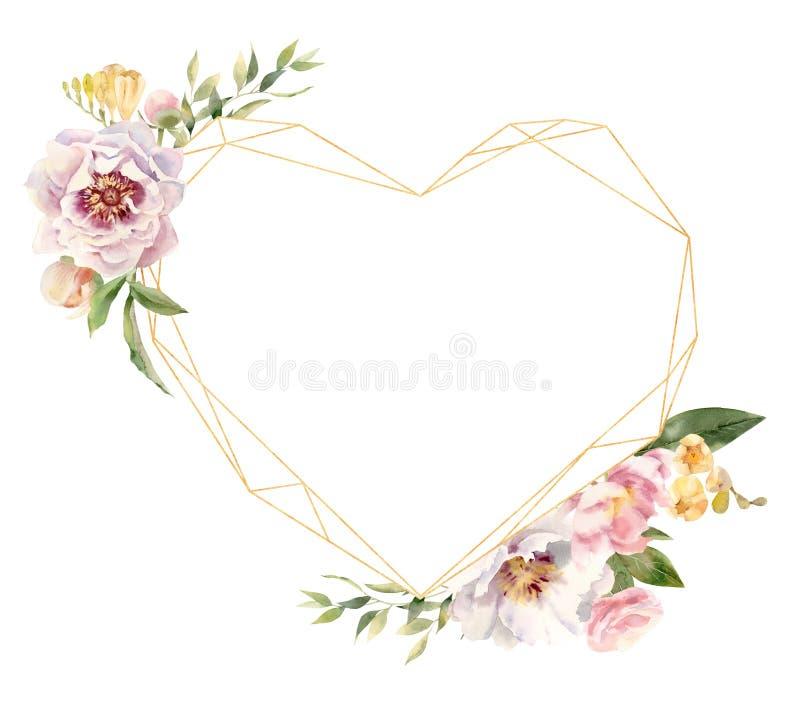 Het hart gaf gouden die kader gestalte met met de hand geschilderde waterverfbloemen wordt verfraaid royalty-vrije illustratie