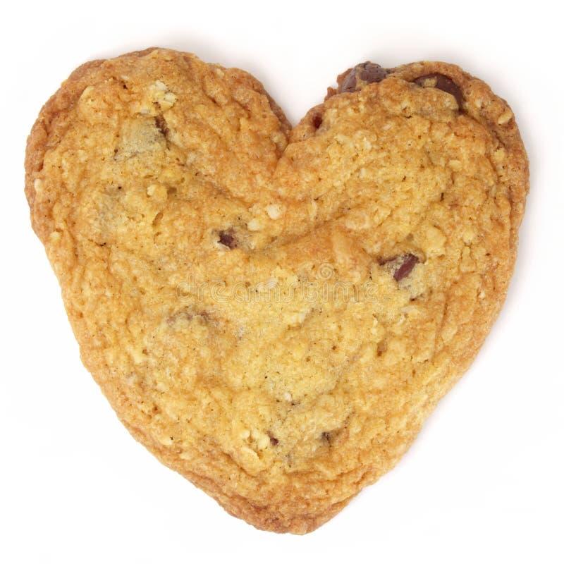 Het hart-gevormde Koekje van de Chocoladeschilfer stock afbeelding