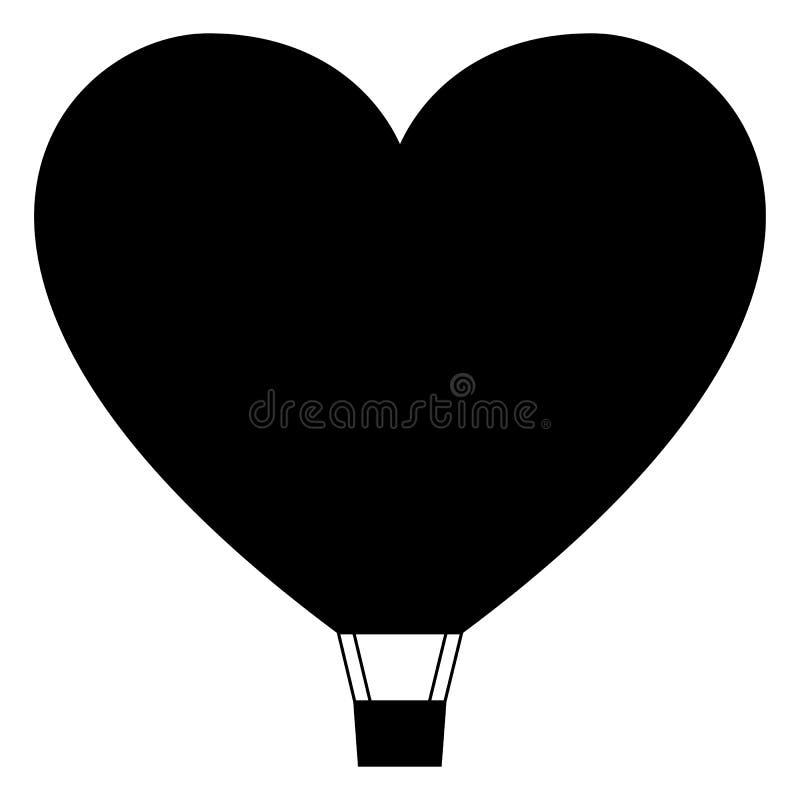 Het hart gevormde pictogram van de luchtballon, minimaal vlak stijlsymbool royalty-vrije stock fotografie