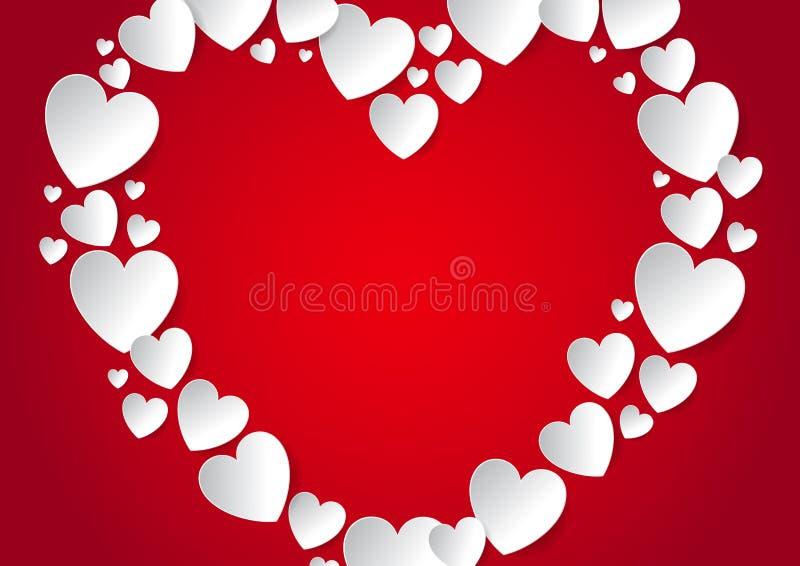 Het hart met exemplaar ruimtevlakte legt met witte vectordocument harten op rode achtergrond vector illustratie