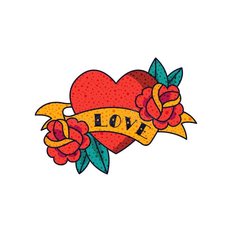 Het hart, nam bloemen, lint en woordliefde, de klassieke Amerikaanse oude vectorillustratie van de schooltatoegering op een witte vector illustratie