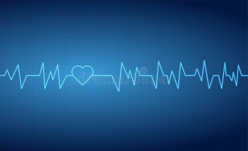 Het hart slaat de rasterlijnenachtergrond van het impulscardiogram royalty-vrije illustratie