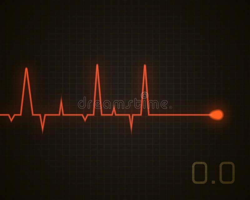 Het hart sloeg dode grafisch Vectordiehartimpuls op zwarte wordt geïsoleerd vector illustratie