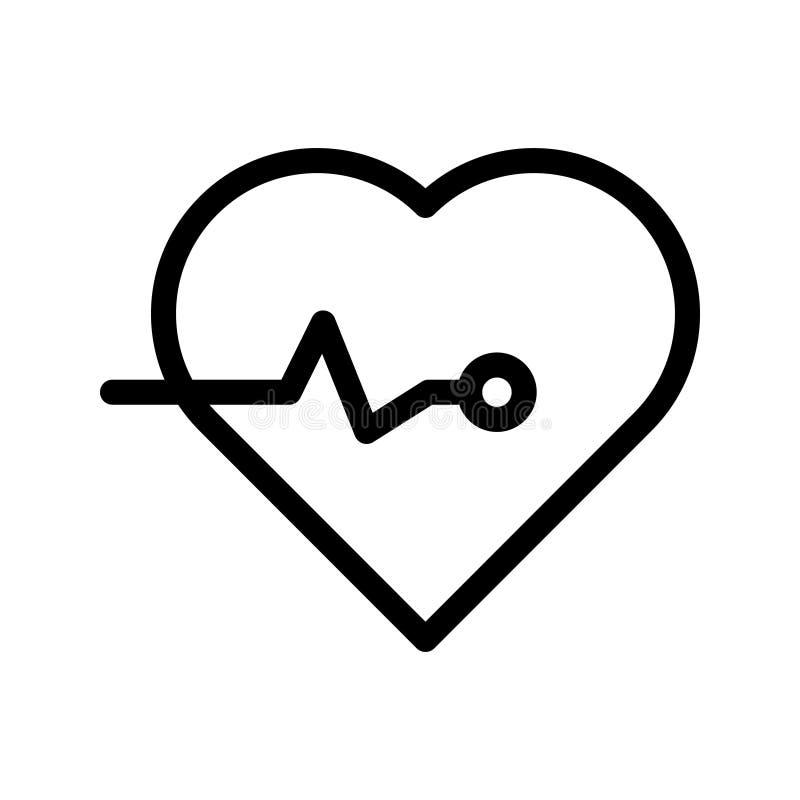 Het hart sloeg lijn vectorpictogram royalty-vrije illustratie