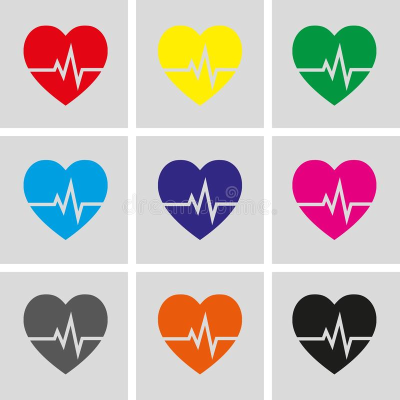 Het hart sloeg vector de illustratie vlak ontwerp van de pictogramvoorraad vector illustratie