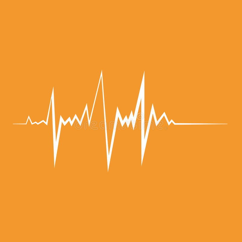 Het hart sloeg Vlakke ontwerp vectorillustratie Oranje en witte kleuren stock illustratie