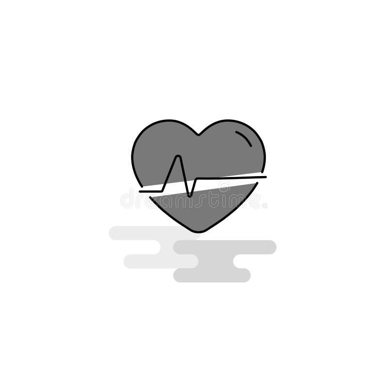 Het hart sloeg Webpictogram Vlak Lijn Gevuld Gray Icon Vector royalty-vrije illustratie