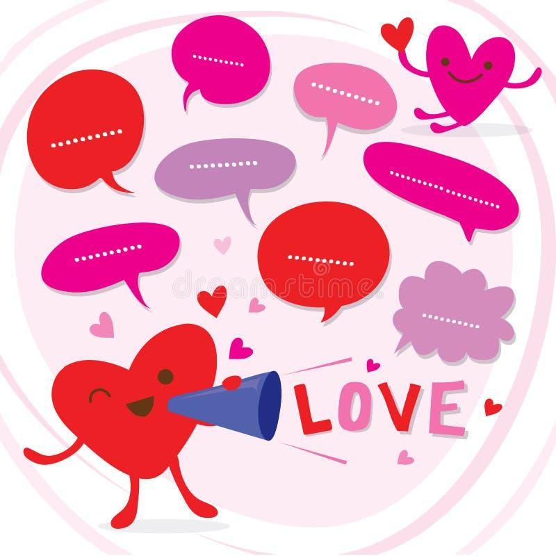 Het hart spreekt Liefde aan Vector van het Liefje de Leuke Beeldverhaal stock illustratie