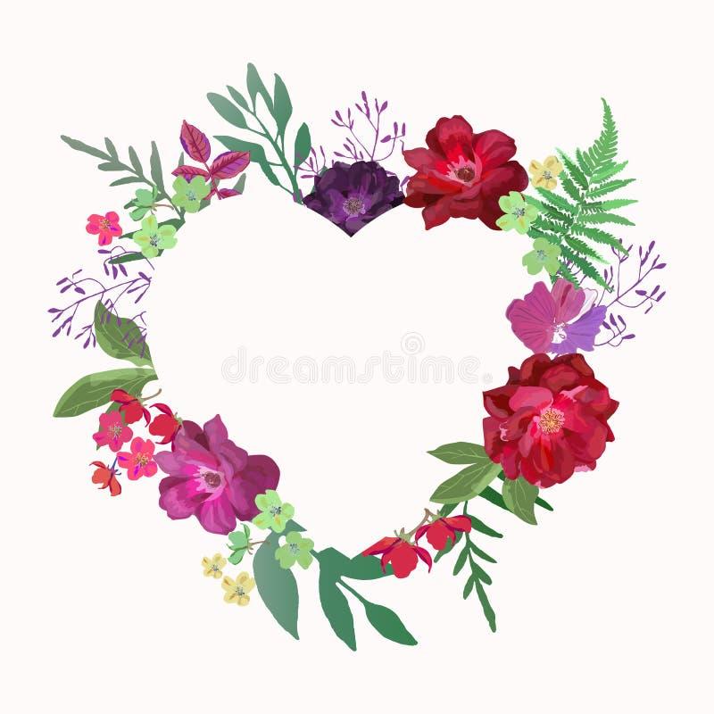 Het hart van bloemen Het mooie document malplaatje van het kunst roze ontwerp Romanti stock illustratie