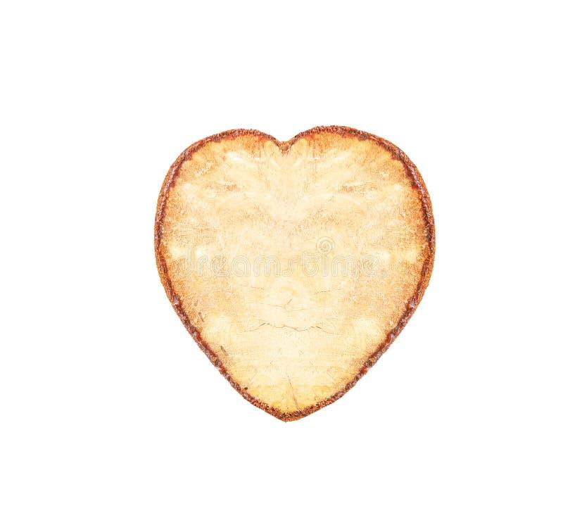 Het hart van boom wordt gevormd zwavelt met harsrand op witte achtergrond wordt geïsoleerd, Natuurlijke houten achtergrond, die w stock foto
