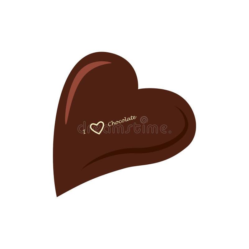 het hart van het chocoladesuikergoed op witte achtergrond wordt geïsoleerd die Cacao yummy snack Vector vlak ontwerp stock illustratie