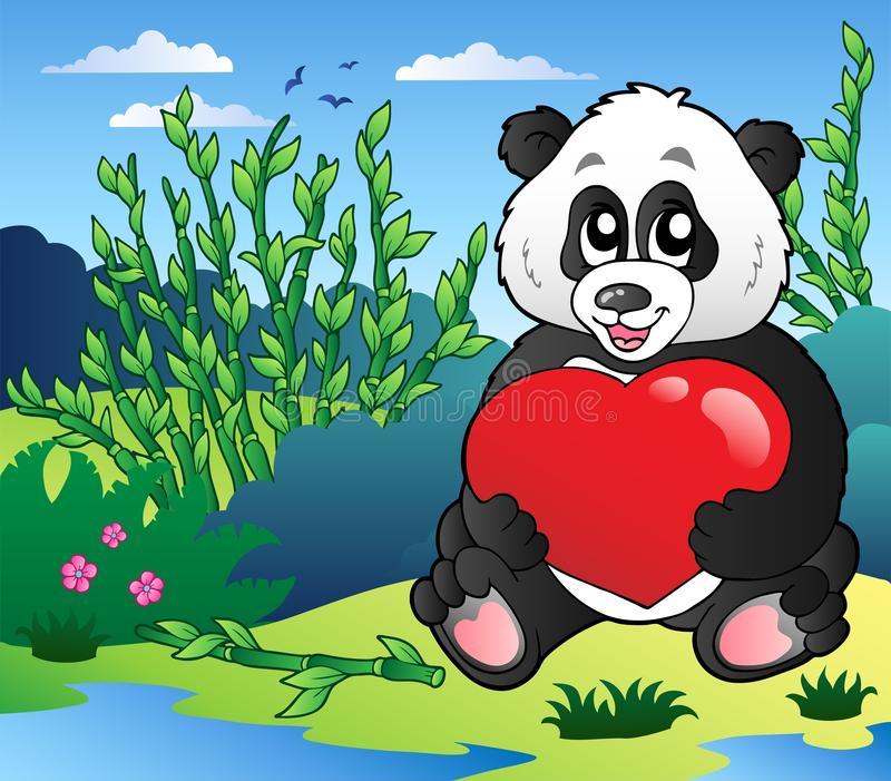 Het hart van de de pandaholding van het beeldverhaal openlucht stock illustratie