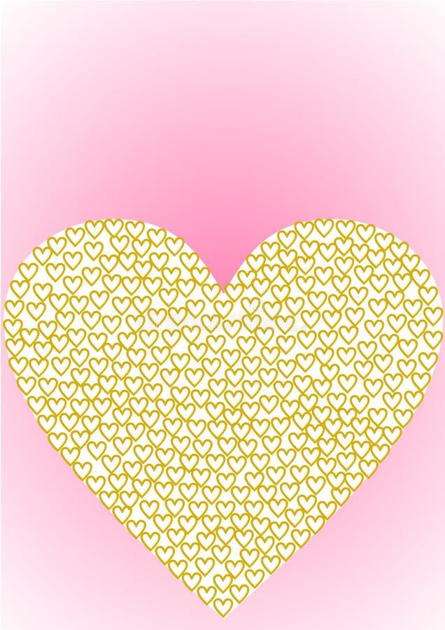 Het hart van de groetkaart met gouden harten wordt gevuld dat royalty-vrije illustratie