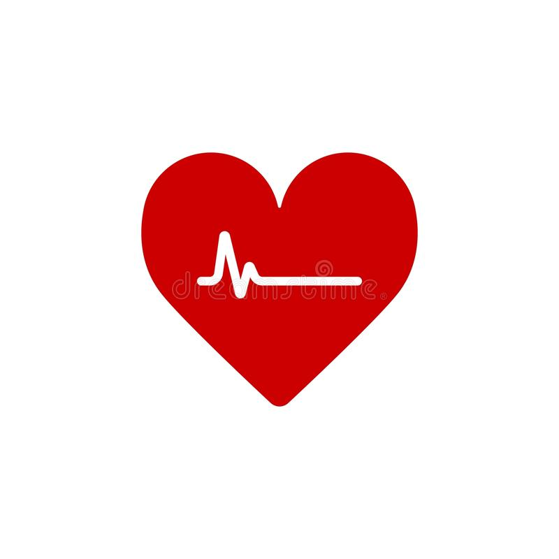 Het Hart van de hartslaglijn Cardio Hart vlak stevig vectorpictogram royalty-vrije illustratie