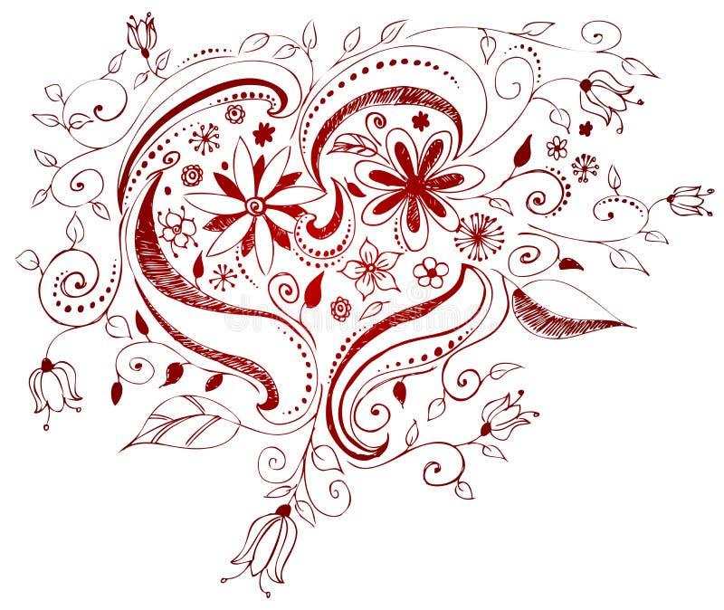 Het hart van de krabbel stock illustratie
