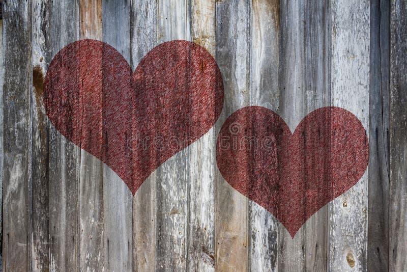 Het hart van de liefde op uitstekend hout stock illustratie