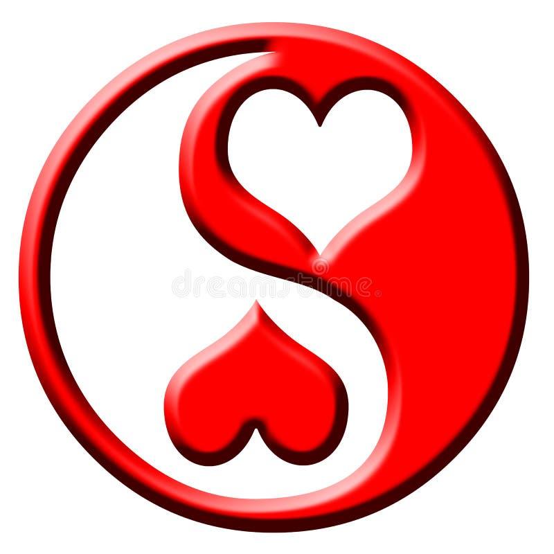 Het hart van de liefde yang yin vector illustratie