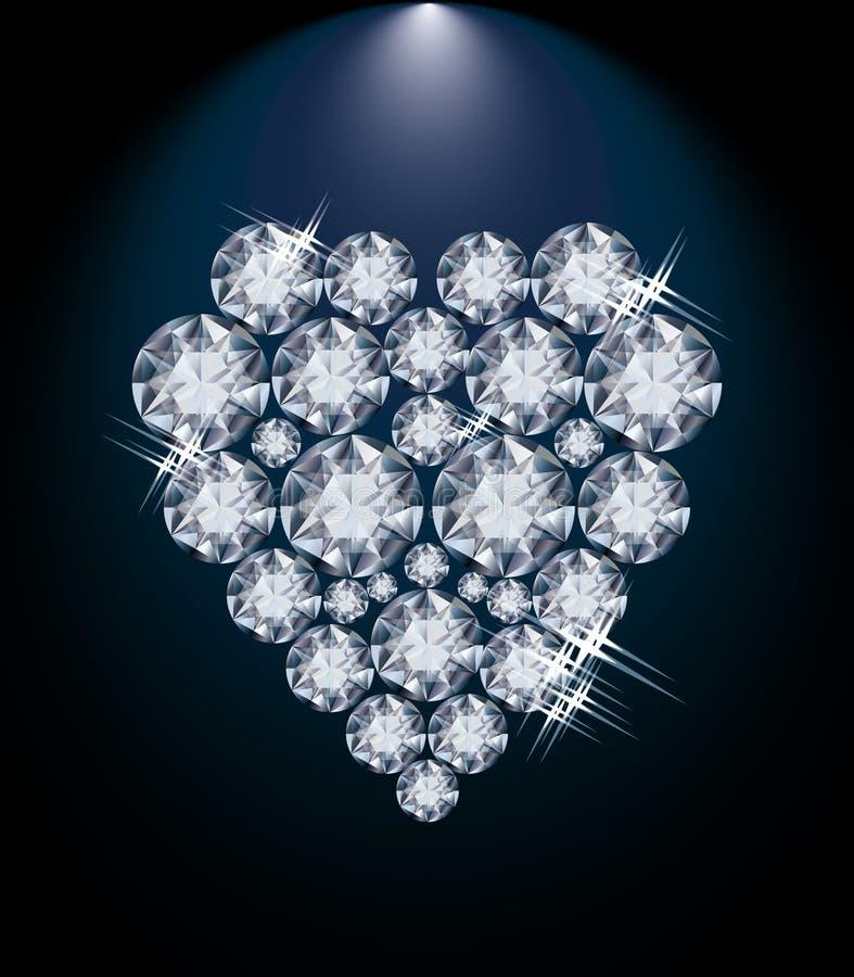 Het hart van de liefdediamant, de kaart van de valentijnskaartendag stock illustratie