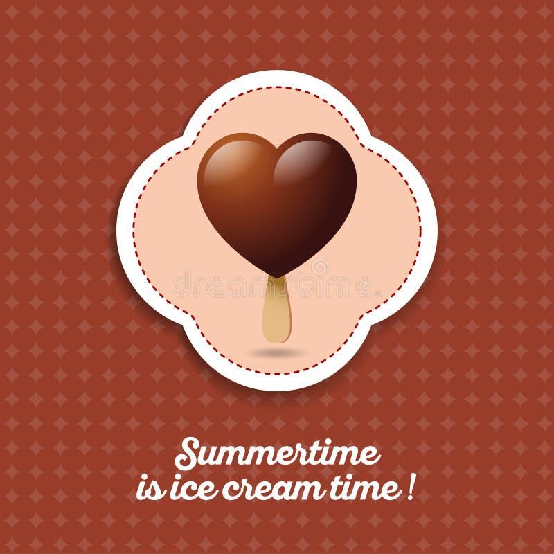 Het hart van de roomijschocolade op een stokpictogram Chocoladeroomijs als hart op een donkere achtergrond vector illustratie