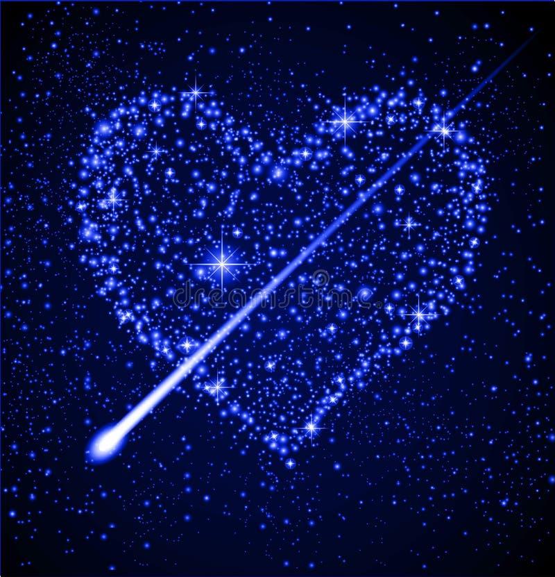 Het hart van de ster in nachthemel royalty-vrije illustratie