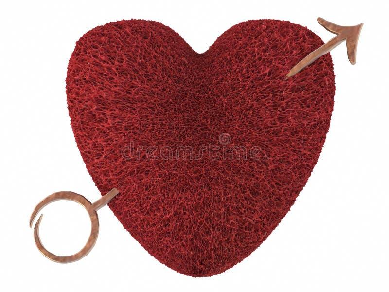 Het hart van de valentijnskaart dat door een pijl wordt doordrongen royalty-vrije illustratie