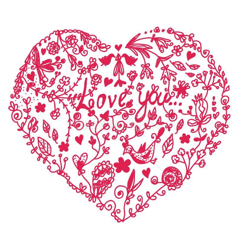 Het hart van de valentijnskaart in krabbel vector illustratie