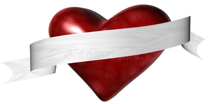 Het Hart van de valentijnskaart met Banner vector illustratie