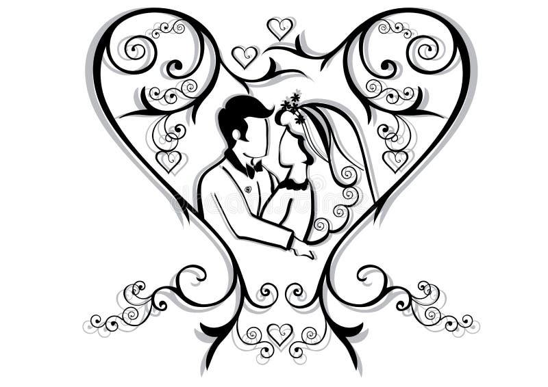Het hart van de valentijnskaart met paar vector illustratie