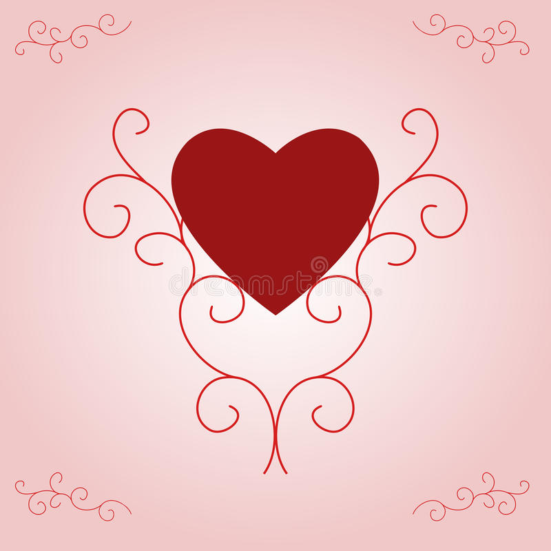Het Hart van de valentijnskaart op Roze Gradiënt vector illustratie