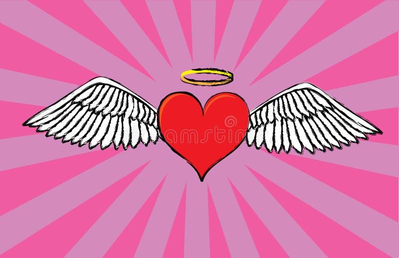 Het hart van de valentijnskaart van de engel stock illustratie