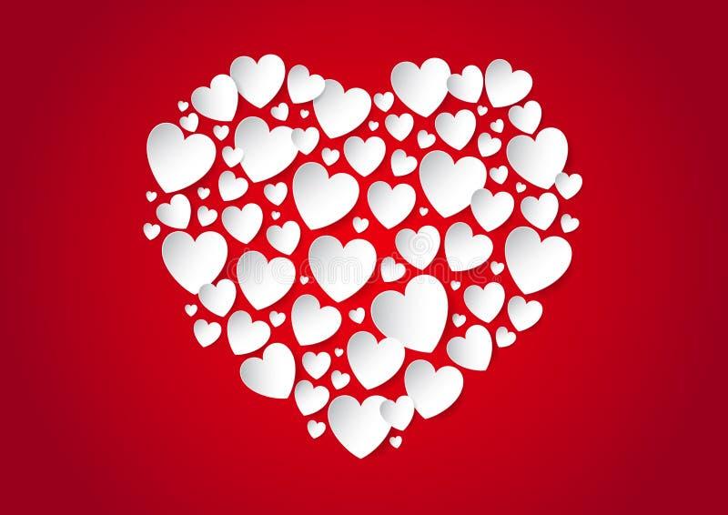 Het hart van de valentijnskaartendag van vectordocument harten vector illustratie
