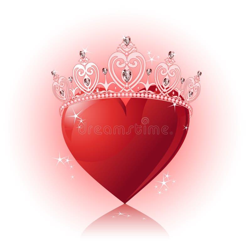 Het hart van het kristal met kroon royalty-vrije illustratie