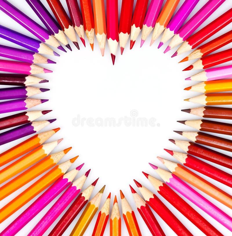 Het hart van het potlood stock foto