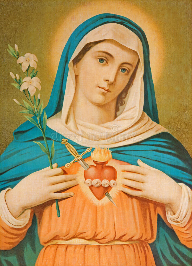 Het Hart van Maagdelijke Mary Typisch cahtolic gedrukt beeld van het eind van 19 cent oorspronkelijk door onbekende schilder royalty-vrije stock afbeelding