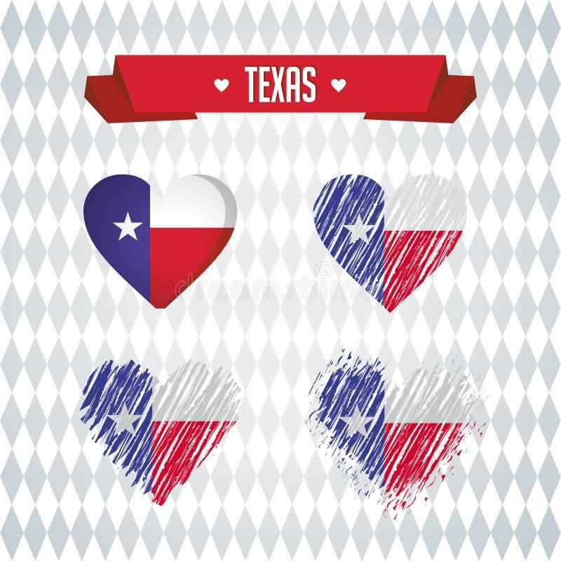 Het hart van Texas met binnen vlag Grunge vector grafische symbolen vector illustratie