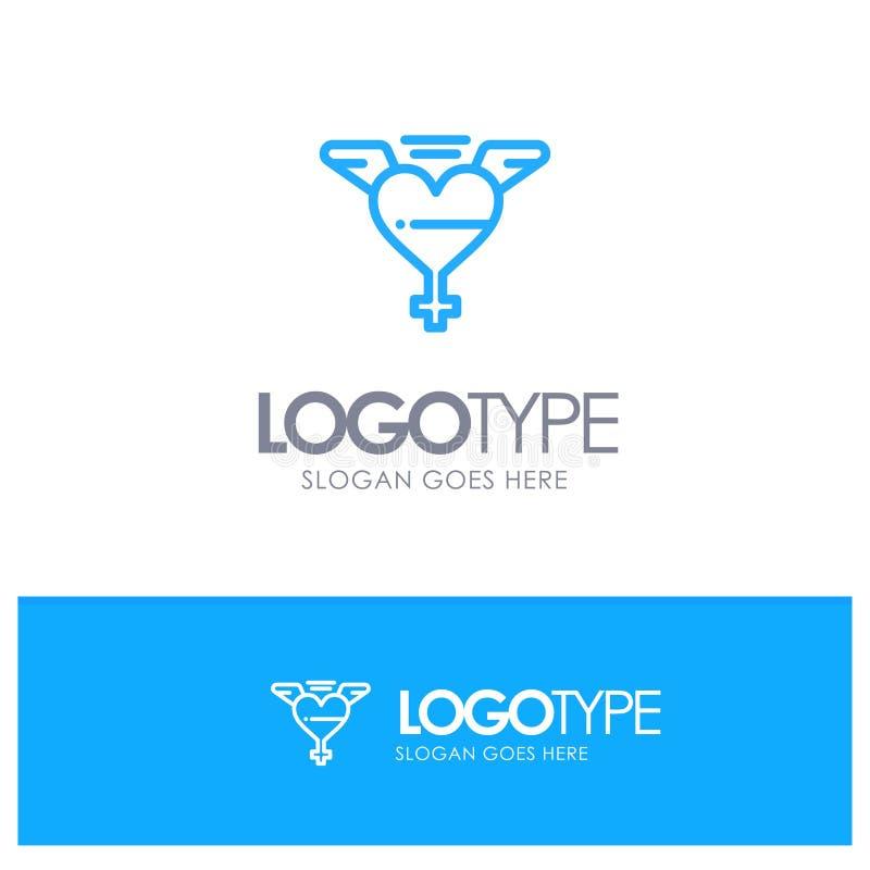 Het hart, Vleugels, houdt van Blauw Logo Line Style royalty-vrije illustratie